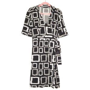 Apt. 9 Faux Wrap with Collar Black & Grey Dress L